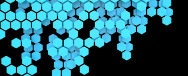 Blockchain Distributed ledger technology , blue Hexagon six-sided polygon symbol on black background , cryptocurrencies or bitcoin concept