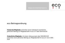 Beitragsordnung eco e.V.