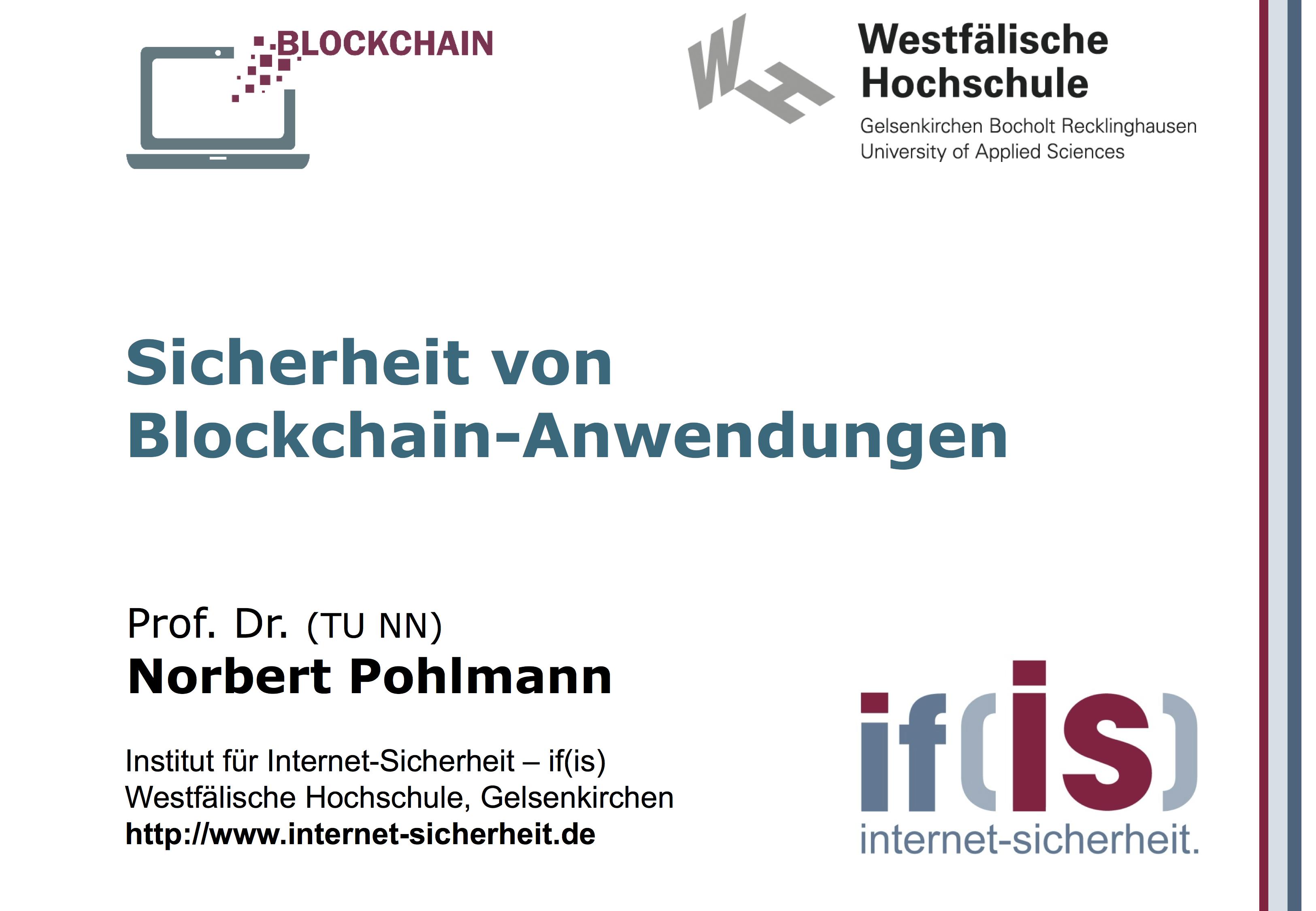 Präsentation: Sicherheit von Blockchain-Anwendungen